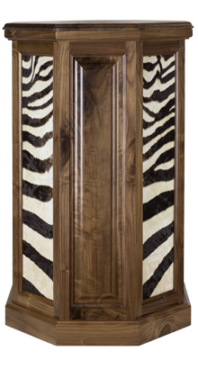 Walnut Zebra Taxidermy Pedestal