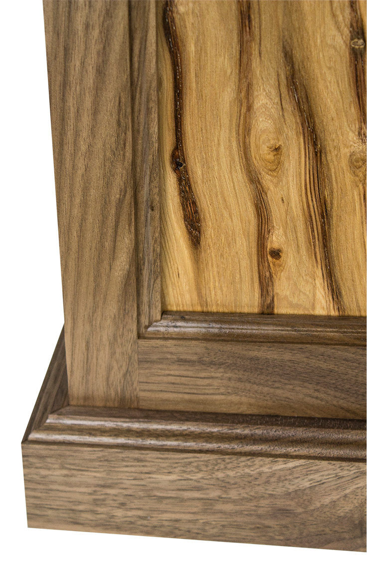 Black walnut hickory flat panel pyramid pedestal pp100 for Hickory flat
